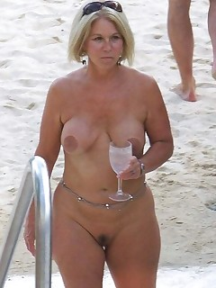 Mature beach topless